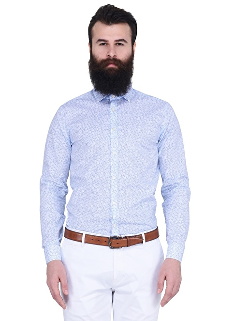 Lufian Uzun Kollu Gömlek Saks